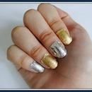 Nail art using silver and gold aluminum/tin foil
