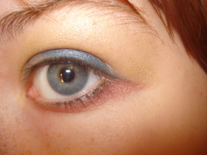 A blue wing dragged down with a bronze color meeting up with the wing and a light color blended up