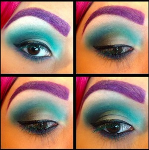 I used (in order) MAC #blanctype, Sugarpill Cosmetics #mochi & #2am, Inglot #316 & #317,Stila #ebony &  (on my brows) OCC #belladonna liptar & Sugarpills #2am.  My lashes are Inglots #colourplaymascara in teal green