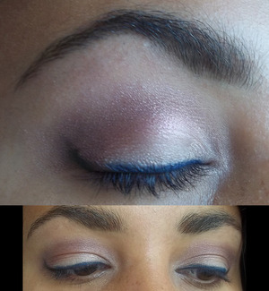 lotus flower- a simple light smokey eye with some purple and white. Very light, and some blue eyeliner with a tail of black just to pump it up