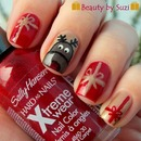 Christmas nail art: Reindeer with presents
