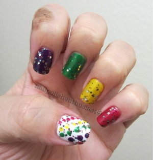 scented nerds nail polish, Avon French Tip White, and Wet and Wild Party Of Five Glitters