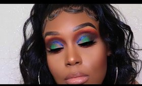 Colorful  Glitter Eyeshadow Tutorial   Fall Makeup