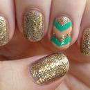 V's on the golden glitter