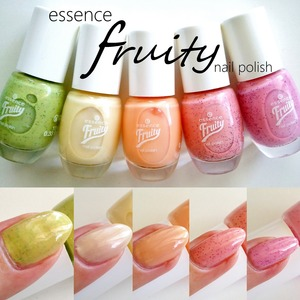Swatches of the limited edition Essence Fruity nail polish collection, READ MORE: http://www.beautybykrystal.com/2013/06/essence-fruity-nail-polishes.html