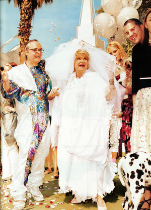 me and my makeup at Paper Magazines mock wedding between funny lady Phyllis Diller and Fashion icon Mr. Mickey