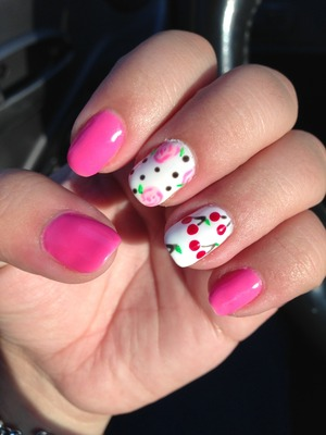 Pink polka dot Betsy Johnson inspired nails with Cherries and roses. Photo 1 of 2