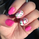 Pink Betsy Johnson nails with roses and cherries