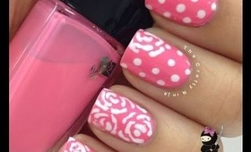 Lancome Pink Flower and Dot Nails by The Crafty Ninja