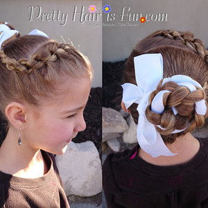 How to do a ballet bun using a ribbon and a knotted braid into a headband.