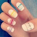 Neon aztec nails :)