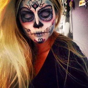 Colourful sugar skull makeup trial for a job.