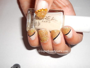 Tutorial and Products used here: http://superbeautyguru.com/glittery-nails-manicure-using-real-loose-glitter/  glitter nails, gold glittery nail look, loose glitter nail tutorial, sparkly, glittery gold nails, glitter, Spring, nails, nail look, nail tutorial, nail art, nail design, beauty, red roses, creative nails, nail blog, Amber Johnson, Amber Camille Johnson