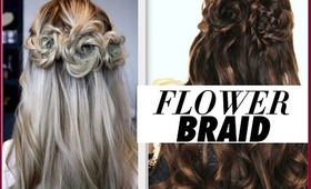 ★FLOWER BRAID HAIR TUTORIAL   HALF-UP PROM HAIRSTYLES