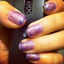Purple holo mani with glitter