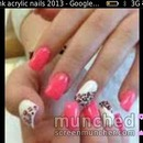 Coral and leopard nails