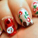 Juicy Cherry on Chocolate Tips Nail Art