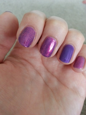 The purple nail polish is originally glossy. I applied it and held above the boiling water for a couple of secs. The Idea is not mine, I just wanted to try it :) And I love the result!
