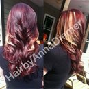 Red hair with blonde peek a boo highlights