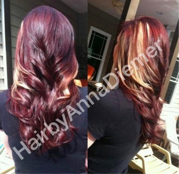 Red Hair With Blonde Peek A Boo Highlights Anna D S
