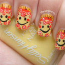 Smiley Pepperoni Pizza Nail Art