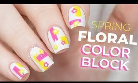 Floral Colorblocking Nails | NailsByErin