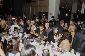 The makeup table at NY fashionweek...CHAOS!!!!!!!!!!!!