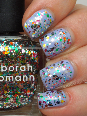 Deborah Lippmann Happy Birthday over Sinful Colors Candy Coated. More information and photos can be found on my blog: http://www.lacquermesilly.com/2013/03/08/a-very-happy-unbirthday-to-me/