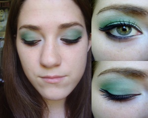 Green futuristic liner makeup