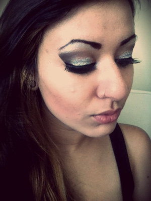Glitter Smokey eye w/ false lashes and liquid liner