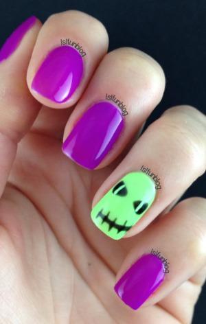 www.lslfun.blogspot.com Bright Halloween Gelish Nails 2014