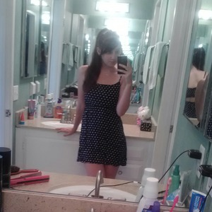 I wore this dress all last summer. Navy blue with white polka dots and an opened back.