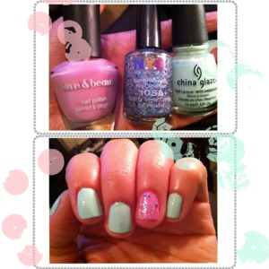 Mint & Lavender Polish with Sparkle | Myheartistry.com