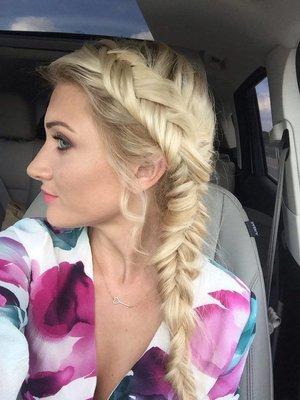 Dutch fishtail braid and hair color by Christy Farabaugh