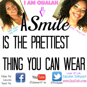 Hello every one my name is Qualah I love to sing, dance, write and beauty you can check me out on youtube @Glmaour143inc twitter @MsQualah and my blog at http://www.glamour143.wordpress.com