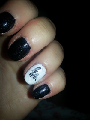 W7 black polish with pin up girl transfer