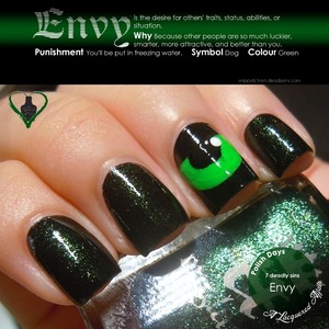 Envy, interpreted using a england Tess d'Ubervilles, Camelot, OPI My Boyfriend Scales Walls and green acrylic paint. More on the blog: http://www.alacqueredaffair.com/Polish-Days-11-7-Deadly-Sins-29118855