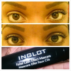 Inglot False Lash Effect mascara, before and after. Absolutely love it, thanks Beautylish:)