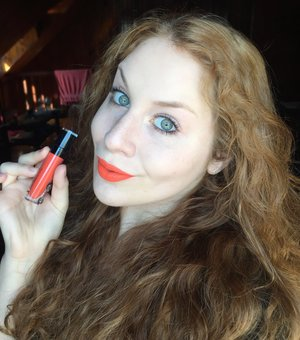 "Simple makeup with a lipstick that says, ""HELLO, HERE I AM!"" http://www.thaeyeballqueen.com/makeuplooks/simple-fall-bold-orange-lips/"