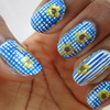 Floral Gingham Nail Art