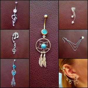 my belly rings & ear cuffs from bodycandy.com  absolutely love them all!