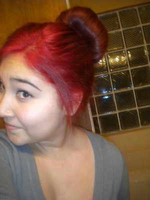 fun red color with the bun