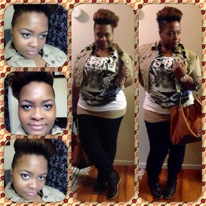 Tan Jacket -Dots Tiger Shirt-Dots Tan Tank Top-Dots  Ruched Jeans-Dots  Black Wedges-MIA Hangbag-Steve Madden
