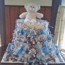 Baby Blue Bear themed diaper cake.