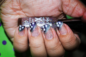 purple & white polka dots with sparkles