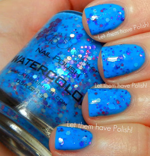 A vivid Periwinlkle Blue base packed full of varying sizes and color hex glitters.