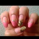 pink&gold love harts