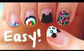 DIY ❤ Easy nail art designs for short nails!! For beginners & No tools!