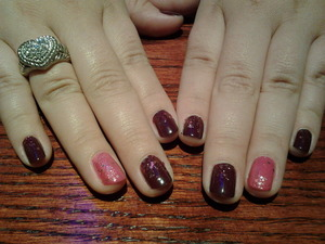 Essie- Recessionista (plum) OPI- I'm inda mood for love(pink) Revlon- Sparkling(rosy pink glitter) Revlon quick dry top coat