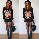 GO TO HELL Rainbow Print Black Sweatshirt